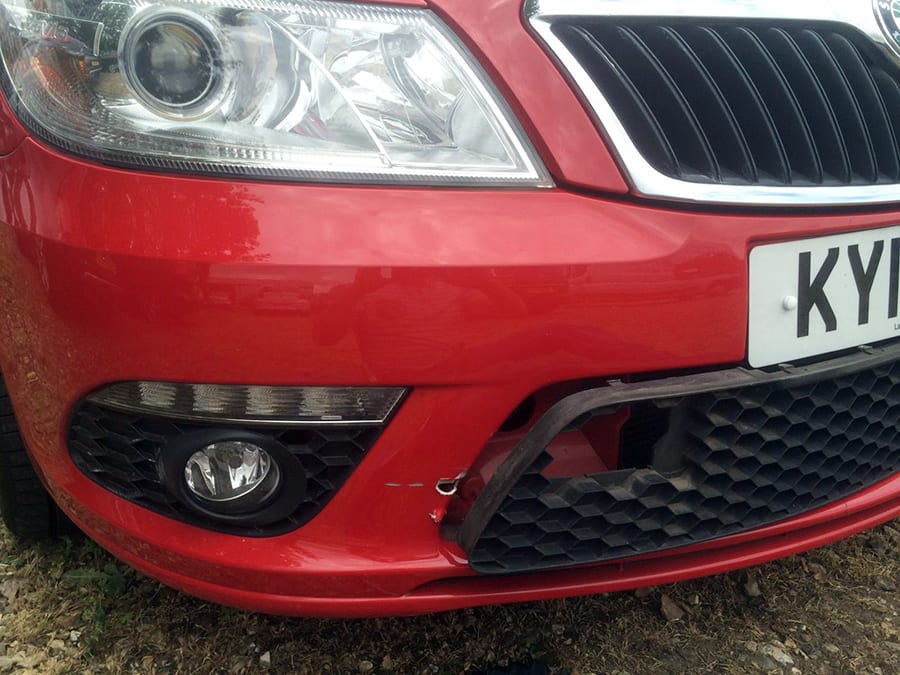 red skoda octavia before repair